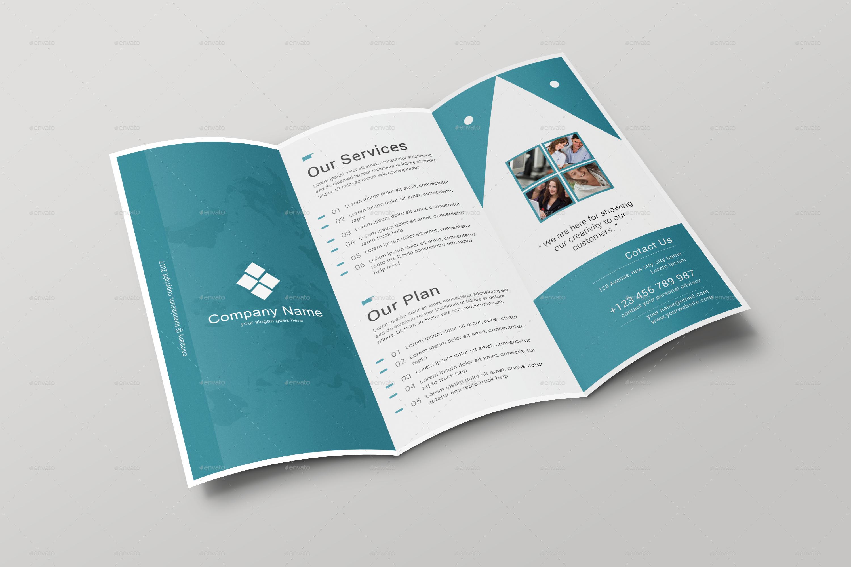 Tri Fold Brochure Mock-up Template - Inside
